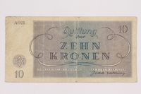 2004.705.15 back Theresienstadt ghetto-labor camp scrip, 10 kronen note  Click to enlarge