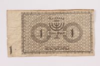 2004.705.16 back Łódź (Litzmannstadt) ghetto scrip, 1 mark note  Click to enlarge
