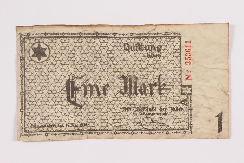 2004.705.16 front Łódź (Litzmannstadt) ghetto scrip, 1 mark note