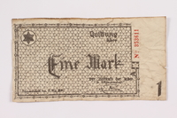 2004.705.16 front Łódź (Litzmannstadt) ghetto scrip, 1 mark note  Click to enlarge
