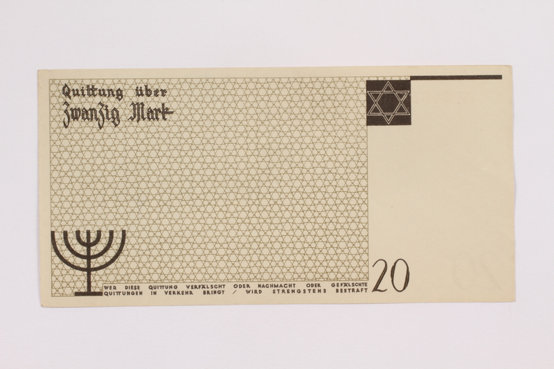 2004.705.17 back Łódź (Litzmannstadt) ghetto scrip, 20 mark note