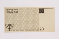 2004.705.17 back Łódź (Litzmannstadt) ghetto scrip, 20 mark note  Click to enlarge