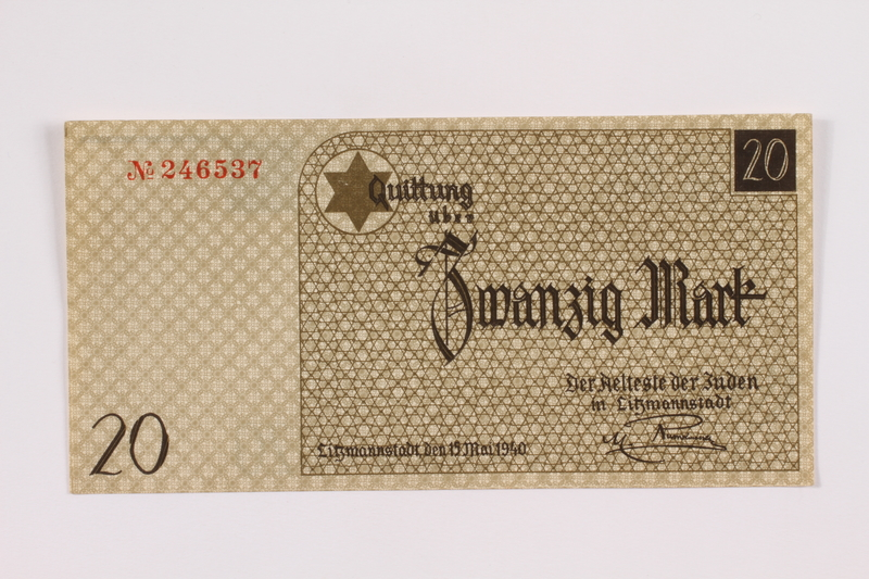 2004.705.17 front Łódź (Litzmannstadt) ghetto scrip, 20 mark note