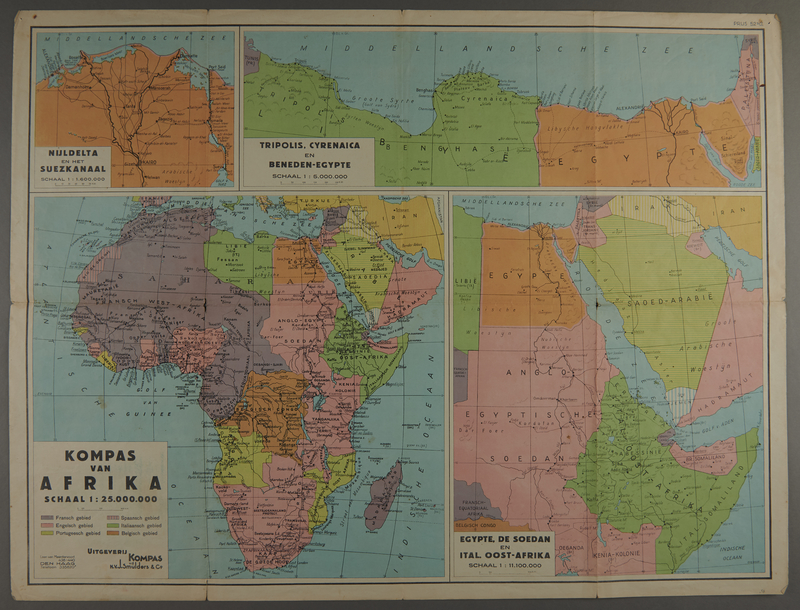 1991.226.58 front Map of Africa owned by a Dutch Jewish boy while living in hiding