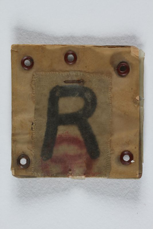 2004.706.5 front Plastic covered Rustung [Armament] badge worn by a Polish Jewish worker in Beskiden labor camp