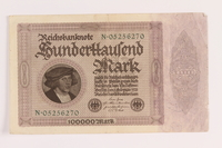 2004.709.8 front Weimar Germany Reichsbanknote, 100000 mark, owned by an Austrian Jewish refugee  Click to enlarge