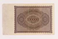 2004.709.8 back Weimar Germany Reichsbanknote, 100000 mark, owned by an Austrian Jewish refugee  Click to enlarge