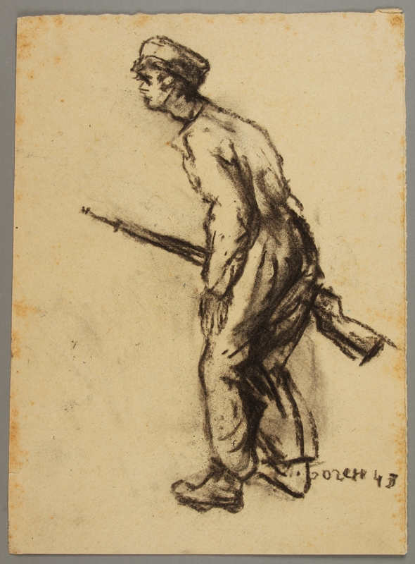 2005.181.1 front Drawing by Alexander Bogen of a partisan with a rifle