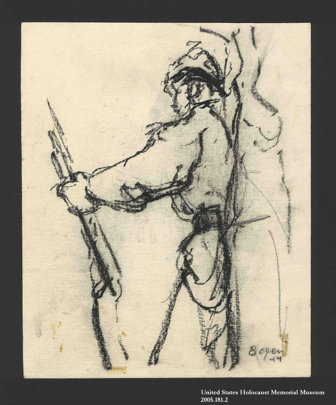 2005.181.2 front Drawing by Alexander Bogen of a partisan with a rifle