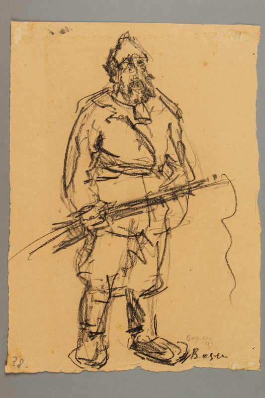 2005.181.3 front Drawing by Alexander Bogen of a bearded partisan