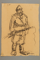 2005.181.3 front Drawing by Alexander Bogen of a bearded partisan  Click to enlarge