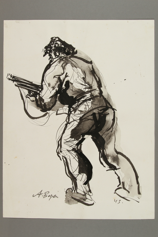 2005.181.4 front Drawing by Alexander Bogen of an armed partisan advancing