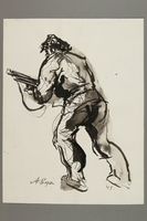 2005.181.4 front Drawing by Alexander Bogen of an armed partisan advancing  Click to enlarge