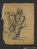 2005.181.6 front Drawing by Alexander Bogen of a bearded partisan sitting with a rifle between his knees  Click to enlarge