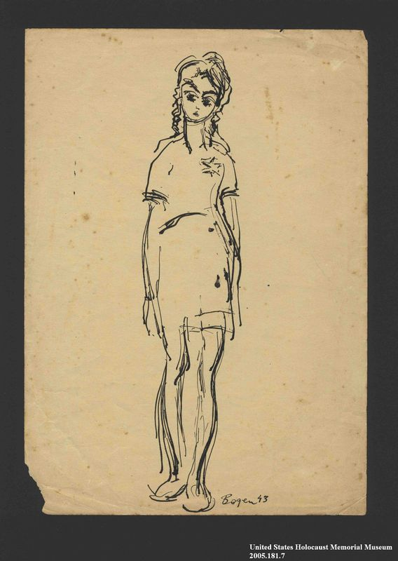 2005.181.7 front Drawing by Alexander Bogen of a girl wearing a six-pointed star
