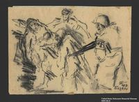 2005.181.8 front Drawing by Alexander Bogen of a German soldier herding a group of Jews at gunpoint  Click to enlarge