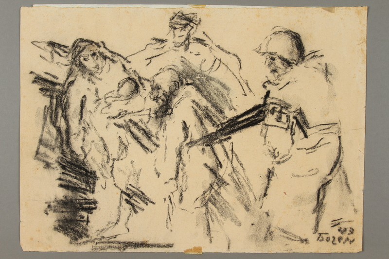 2005.181.8 front Drawing by Alexander Bogen of a German soldier herding a group of Jews at gunpoint