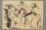 Drawing by Alexander Bogen of a German soldier herding a group of Jews at gunpoint