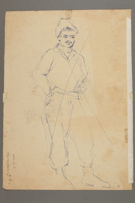 2005.181.8 back Drawing by Alexander Bogen of a German soldier herding a group of Jews at gunpoint