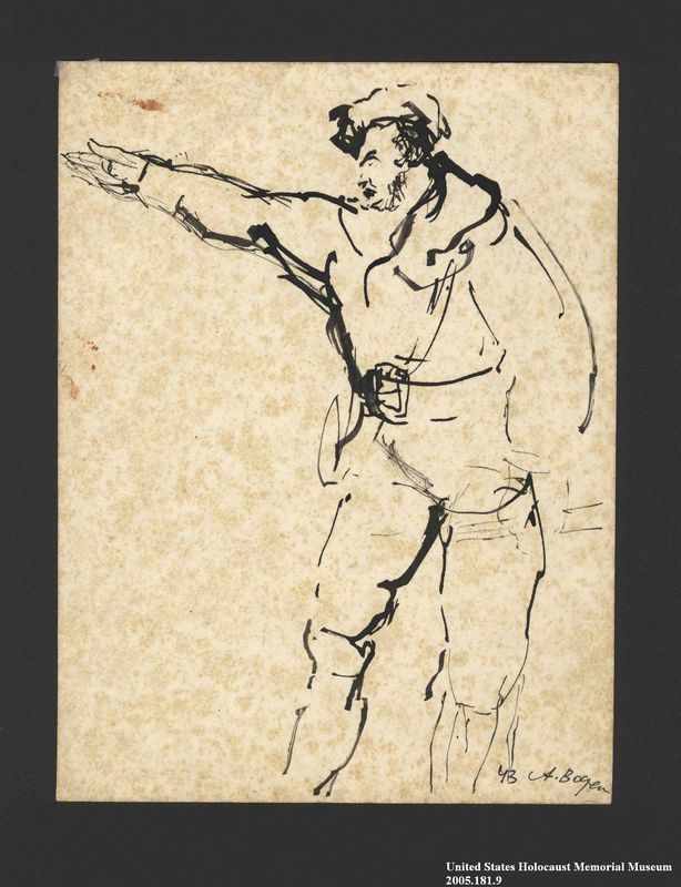 2005.181.9 front Drawing by Alexander Bogen of a partisan gesturing with his right arm