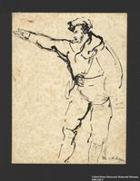 2005.181.9 front Drawing by Alexander Bogen of a partisan gesturing with his right arm  Click to enlarge