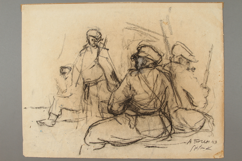 2005.181.10 front Drawing by Alexander Bogen of four partisans standing with rifles