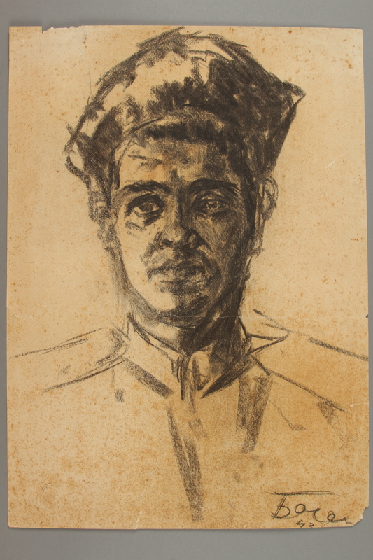 2005.181.11 front Portrait of a partisan, drawn by Alexander Bogen