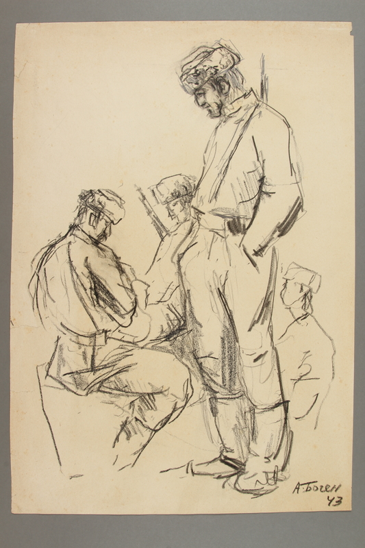 2005.181.12 front Drawing by Alexander Bogen of four partisans