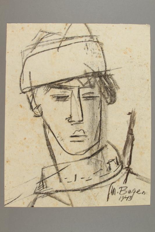 2005.181.13 front Portrait of a partisan, drawn by Alexander Bogen