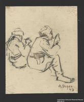 2005.181.14 front Drawing by Alexander Bogen of two partisans eating  Click to enlarge