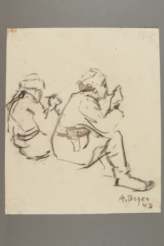 2005.181.14 front Drawing by Alexander Bogen of two partisans eating