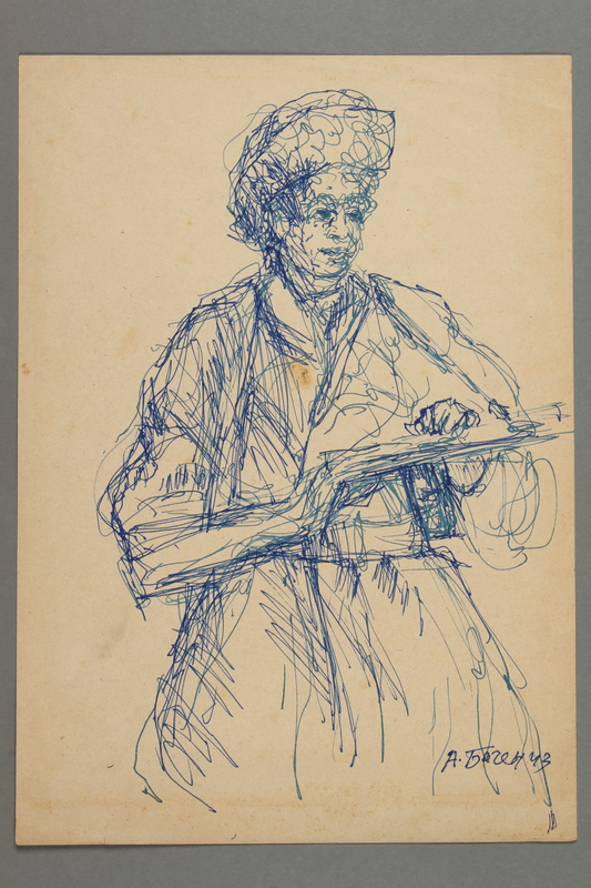 2005.181.15 front Drawing by Alexander Bogen of a partisan standing with a rifle