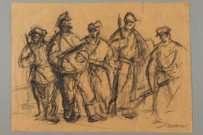 2005.181.17 front Drawing by Alexander Bogen of five partisans