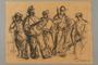 Drawing by Alexander Bogen of five partisans