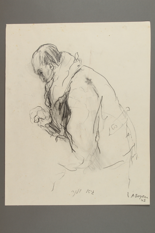 2005.181.18 front Drawing by Alexander Bogen of a man sitting in a heavy coat