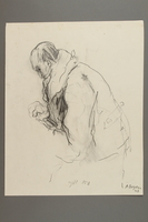 2005.181.18 front Drawing by Alexander Bogen of a man sitting in a heavy coat  Click to enlarge