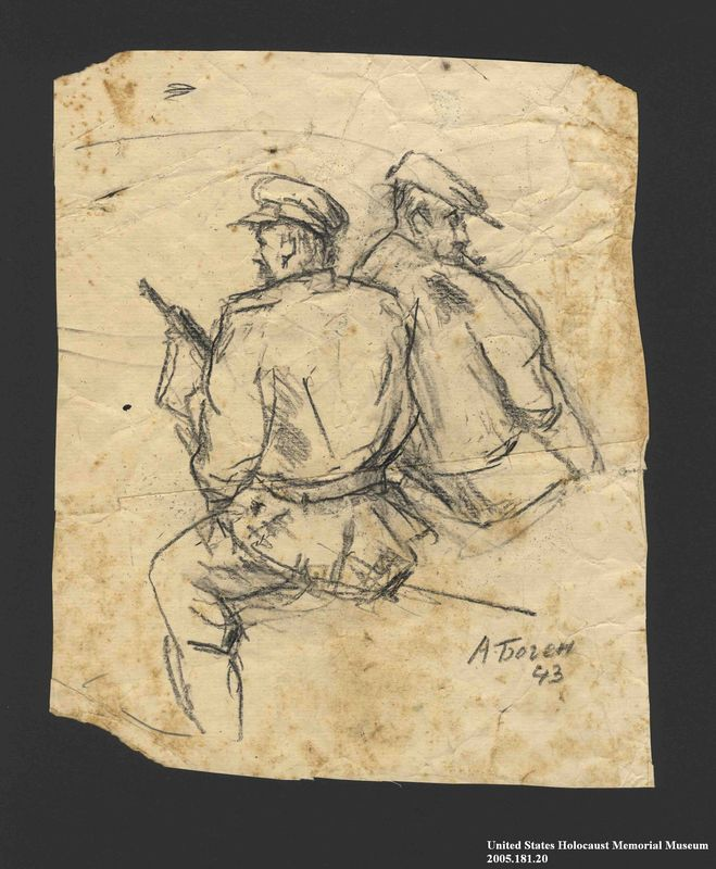 2005.181.20 front Drawing by Alexander Bogen of two partisans, one smoking a pipe