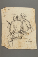 2005.181.20 front Drawing by Alexander Bogen of two partisans, one smoking a pipe  Click to enlarge