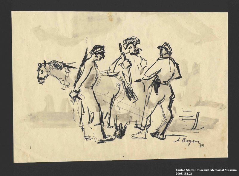 2005.181.21 front Drawing by Alexander Bogen of three armed partisans standing together in conversation