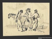 2005.181.21 front Drawing by Alexander Bogen of three armed partisans standing together in conversation  Click to enlarge