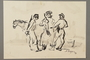 Drawing by Alexander Bogen of three armed partisans standing together in conversation