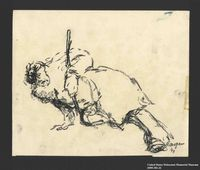 2005.181.22 front Drawing by Alexander Bogen of a partisan propping himself up with his rifle  Click to enlarge