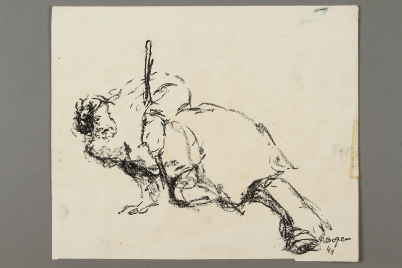2005.181.22 front Drawing by Alexander Bogen of a partisan propping himself up with his rifle