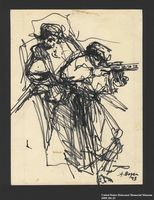 2005.181.23 front Drawing by Alexander Bogen of two partisans, one standing and one crouching and firing a rifle  Click to enlarge