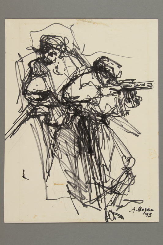 2005.181.23 front Drawing by Alexander Bogen of two partisans, one standing and one crouching and firing a rifle
