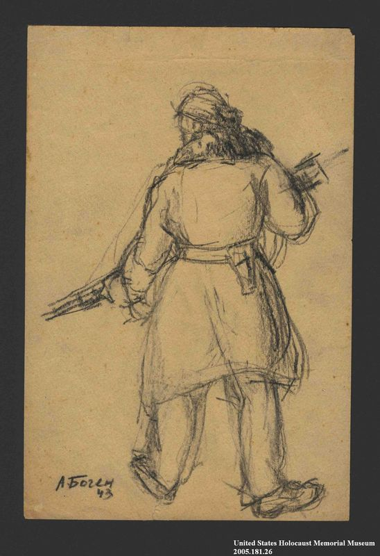 2005.181.26 front Drawing by Alexander Bogen of a partisan cradling a rifle in both arms