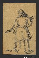 2005.181.26 front Drawing by Alexander Bogen of a partisan cradling a rifle in both arms  Click to enlarge