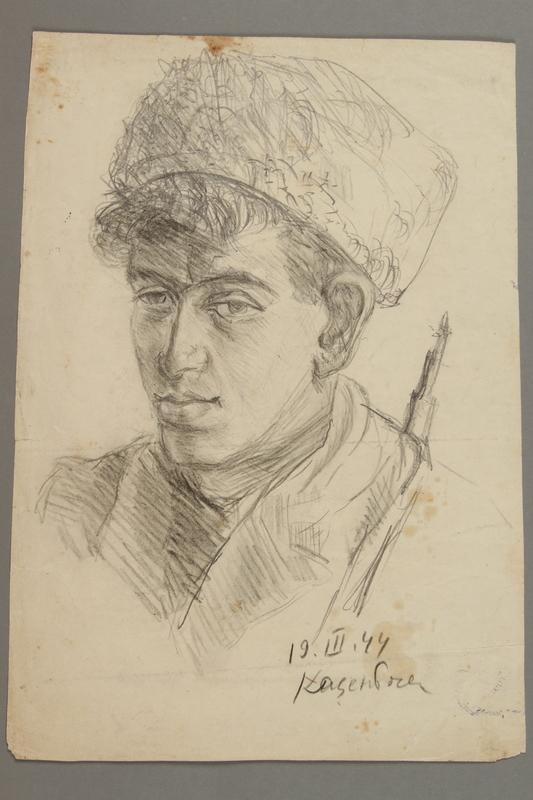 2005.181.27 front Portrait of a partisan, drawn by Alexander Bogen