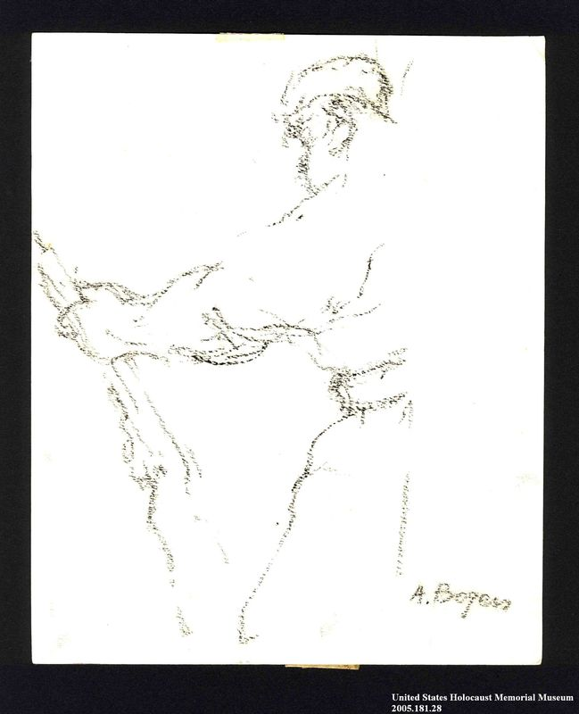 2005.181.28 front Drawing by Alexander Bogen of a partisan standing with a rifle