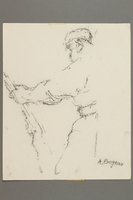 2005.181.28 front Drawing by Alexander Bogen of a partisan standing with a rifle  Click to enlarge